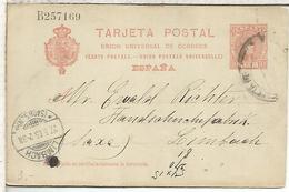 ESPAÑA ENTERO POSTAL ALFONSO XIII BARCELONA A LIMBACH 1905 - 1850-1931