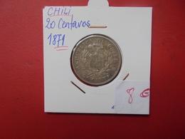CHILI 20 CENTAVOS 1871 ARGENT - Chile