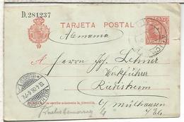 ESPAÑA ENTERO POSTAL ALFONSO XIII ALICANTE  A RUDISHEIM ALEMANIA 1906 - 1850-1931