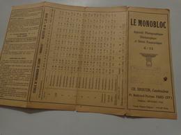 Instructions Pour L'emploi De L'appareil Photographique LE MONOBLOC Broutin Constructeur - Unclassified