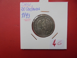 CHILI 20 CENTAVOS 1893 ARGENT - Chili