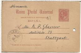 ESPAÑA  ENTERO POSTAL ALFONSO XII MADRID  A STUTTGART 1887  AGUJERO - 1850-1931