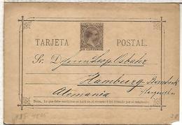ESPAÑA ENTERO POSTAL ALFONSO XIII MADRID A HAMBURG 1890 - 1850-1931