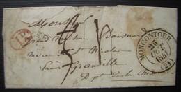 Moncontour 1841 (Côte D'armor) Lettre Pour Le Maire De Saint Nicolas (manche) - Postmark Collection (Covers)