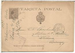 ESPAÑA ENTERO POSTAL ALFONSO XIII IRUN A ALEMANIA 1891 - Entiers Postaux