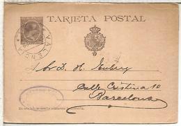 ESPAÑA ENTERO POSTAL ALFONSO XIII VALENCIA A BARCELONA 1899 VARIANTE SIN PUNTO DESPUES DE POSTAL - 1850-1931