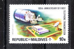 Maldive  - 1976. Trasmissione Telefonica Con Intelsat. Telephone Transmission With Intelsat. High Values Of Set. MNH - Telecom