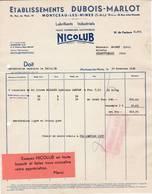 71 MONTCEAU LES MINES FACTURE 1936 Lubrifiants Industriels NICOLUB  Marque Déposée  A94 - 1900 – 1949