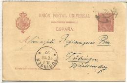 ESPAÑA ENTERO POSTAL ALFONSO XIII VARIANTE UNION EN FRANCES CON ACENTO BARCELONA TUBINGEN 1897 - 1850-1931