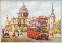 M Jeffries - Routemaster Bus Passing St Paul's, London - Mayfair Postcard - Buses & Coaches
