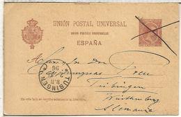 ESPAÑA ENTERO POSTAL ALFONSO XIII VALENCIA  A TUBINGEN 1896 - 1850-1931
