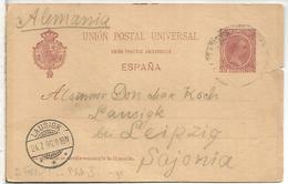 ESPAÑA ENTERO POSTAL ALFONSO XIII A LEIPZIG VARIANTE ACENTO UNION EN TEXTO EN FRANCES - 1850-1931