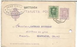 ESPAÑA ENTERO POSTAL ALFONSO XIII SABADELL  A BEAUCAIRE MAT AMBULANTE AGUJERO ARCHIVO 1927 - 1850-1931