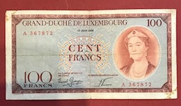 Luxembourg Billet De Banque Charlotte 100 Francs 1956 - Luxemburgo