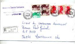 Lettre Recommandee Causses Et Veyran Sur Marianne Liberte - Marcophilie (Lettres)