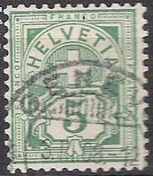 Schweiz Suisse 1906: Ziffer Mit WZ I Filigrane I Zu 82 Mi 84 Yv 102 - 5c Grün Mit O GENÈVE 3.III.08 (Zu CHF 1.00) - 1882-1906 Wappen, Stehende Helvetia & UPU