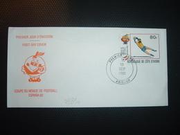 LETTRE TP COTE D'IVOIRE COUPE DU MONDE DE FOOTBALL 80 F OBL.19 SEP. 1981 ABIDJAN PREMIER JOUR - Fußball-Weltmeisterschaft