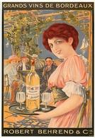 Thème Pub * Vins De Bordeaux Robert Behrend   (scan Recto Et Verso ) - Publicité