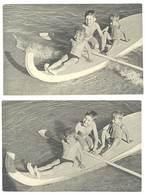 2 Photos Amateur Enfants Sur Canoë / Planche Avec Rames - Personnes Anonymes