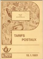 TARIFS POSTAUX BELGES  De 1981  45 Pages - Administrations Postales