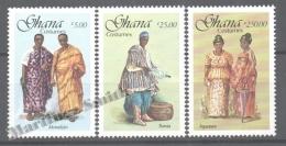 Ghana 1988 Yvert 952-54, Traditional Costumes - MNH - Ghana (1957-...)