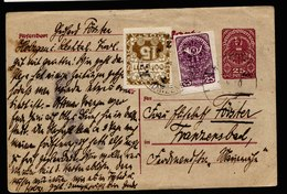 A5737) Czechoslovakia CSR Austria Karte 1920 Mit Taxe-Marke - Briefe U. Dokumente
