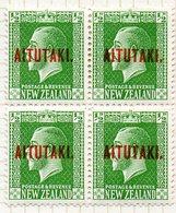 OCEANIE - AITUTAKI - (Dépendance Néo-Zélandaise) - 1918-19 - Bloc De 4 Du N° 14 - 1/2 P. Vert-jaune - (Nelle Zélande) - Aitutaki