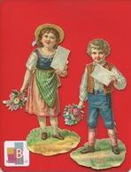 Deux Jolis Chromos Decoupis Enfants Bouquets De Fleurs Message 12 Cm - Enfants