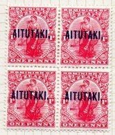 OCEANIE - AITUTAKI - (Dépendance Néo-Zélandaise) - 1918-19 - Bloc De 4 Du N° 15 - 1 P. Rouge-carmin - (Nelle Zélande) - Aitutaki