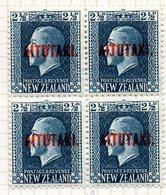 OCEANIE - AITUTAKI - (Dépendance Néo-Zélandaise) - 1918-19 - Bloc De 4 Du N° 18 - 2 1/2 P. Bleu-vert - (Nelle Zélande) - Aitutaki