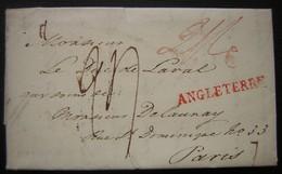 1824 Marque Angleterre En Rouge Sur Une Lettre Pour Le Duc De Laval Chez Monsieur Delaunay à Paris - Marcophilie (Lettres)