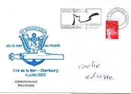 LE REDOUTABLE De La Mer Au Musée 4 Juillet 2000 Obl. Cherbourg Naval 04/07/00 - Poste Navale