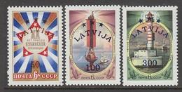 SERIE NEUVE DE LETTONIE - SERIE COURANTE 1993 : TIMBRES D'U.R.S.S. SURCHARGES N° Y&T 312 A 314 - Latvia