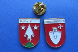 2 Pin's, Ville,Village,ROTHRIST,SCHWAMENDINGEN,blason, Suisse, Wappen,pelle - Cities