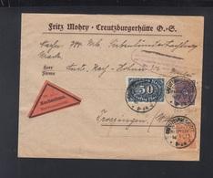 Dt. Reich Nachnahme Brief 1923 Creuzburgerhütte Oberschlesien - Briefe U. Dokumente