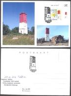 Lighthouses  2016 Estonia Corner Stamp Privat Maxicard (2) Virtsu Lighthouse RARE Mi 873 - Lighthouses