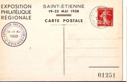 2 P 30 C Semeuse Repiquage Expo Philatélique St Etienne 1938 Très Bel état - Cartes Postales Types Et TSC (avant 1995)
