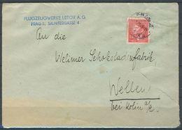 Boheme Et Moravie, Lettre Simple De Praha Pour Velím, Avec Publicité - Bohemia Y Moravia