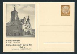 Privatpostkarte MiNr. PP 122 C 69 8.-10. 1.1938 GUBEN, Briefmarkenschau, 3 Pf. Hindenburg Braun, Ungebraucht, - Postwaardestukken