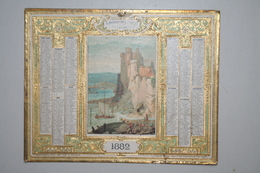 Almanach Des Postes  - 1882  ( Chromo Côtes D'Anglette  - Dorures  En Relief  ) - Calendriers
