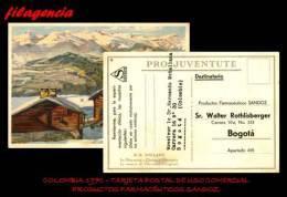 PIEZAS. COLOMBIA. ENTEROS POSTALES. TARJETA POSTAL CIRCULADA USO COMERCIAL 1970. PRODUCTOS FARMACÉUTICOS SANDOZ - Colombia
