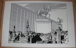 F. Schuiten Fragments De Bruxelles: La Bibliothèque 4 /15 - Screen Printing & Direct Lithography