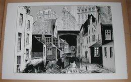 F. Schuiten Fragments De Bruxelles: La Rivière Perdue 6/15 - Screen Printing & Direct Lithography