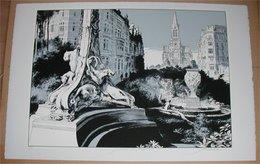 F. Schuiten Fragments De Bruxelles Jardin De Sculptures 5/15 - Screen Printing & Direct Lithography