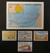 Antigua Barbuda 1988** Mi.1146-49 + Bl.144. Columbus' Exploration [19;59] - Christopher Columbus