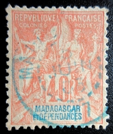 1896 France (ex-colonies & Protectorats) > Madagascar Mi:MG 37, Sn:MG 42, Yt:MG 37 . Type Groupe . Cachet Bleu - Madagascar (1889-1960)