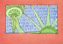 """""""LIBERTE LIBERTY"""" Christine Lesueur Pour Le Centenaire De La Statue De La Liberté RV  Union Des Philatelistes PTT  Carto - Bourses & Salons De Collections"""