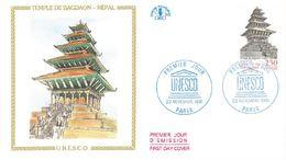 FDC UNESCO Temple De Bagdaon Népal 2 Env (75 Paris 23/11/1991) - FDC