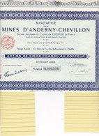 Th3MINES : ANDERNY-CHEVILLON - Action De 3000 Frs1955 (05) - Actions & Titres