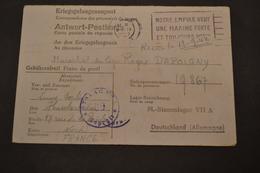 Carte De Prisonnier Pour L'Allemagne 09/1942 FLIER Notre Empire Veut Une Marine Forte Censuré - Marcophilie (Lettres)